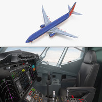 boeing 737-900 interior cockpit 3D model