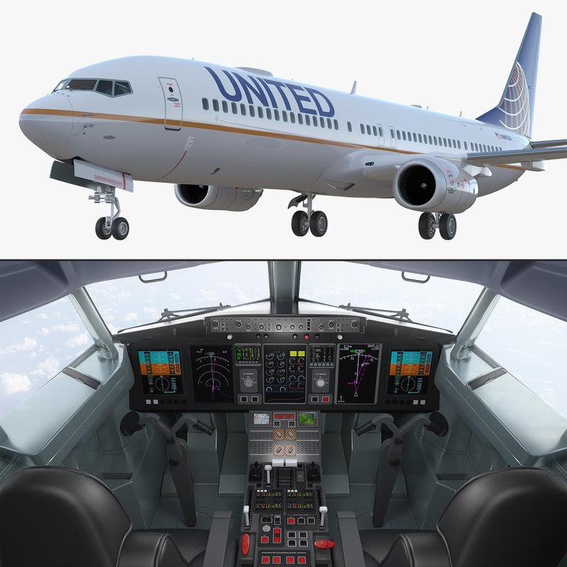3D boeing 737-900 interior cockpit