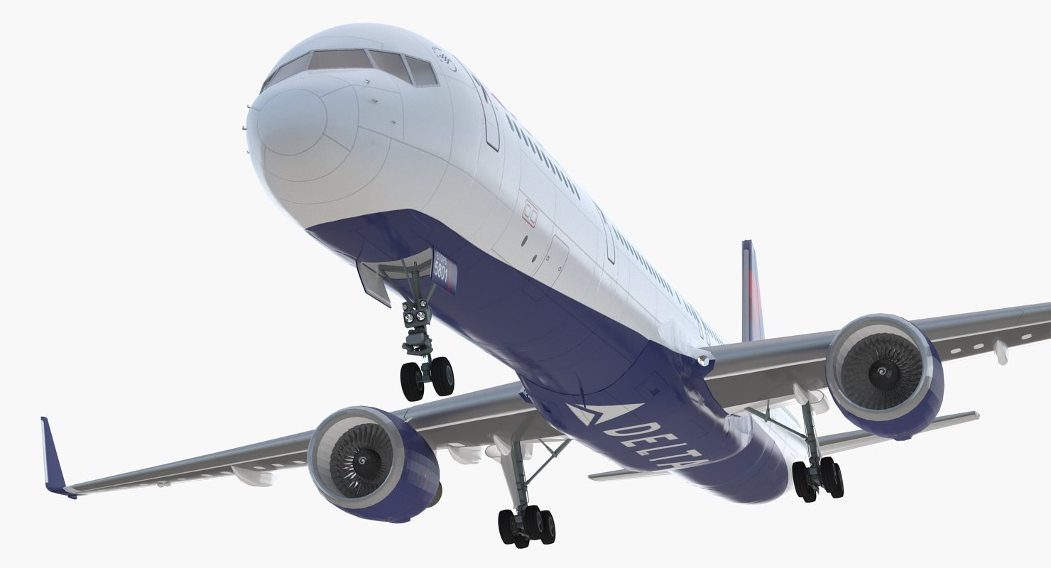 Boeing 757 300 With Interior And Cockpit Delta Air Lines Rigged 3d Model
