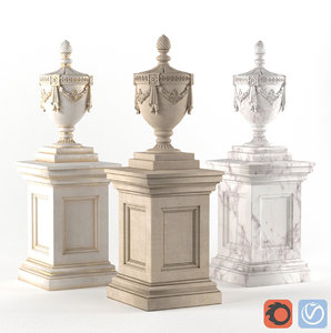 3D vase classical decoration facade model