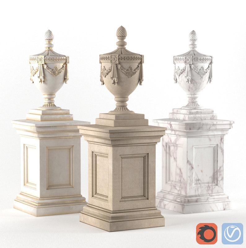 3D vase classical decoration facade model