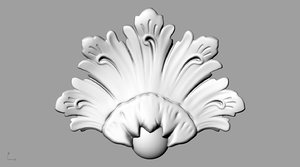 3D acantus crown leaf