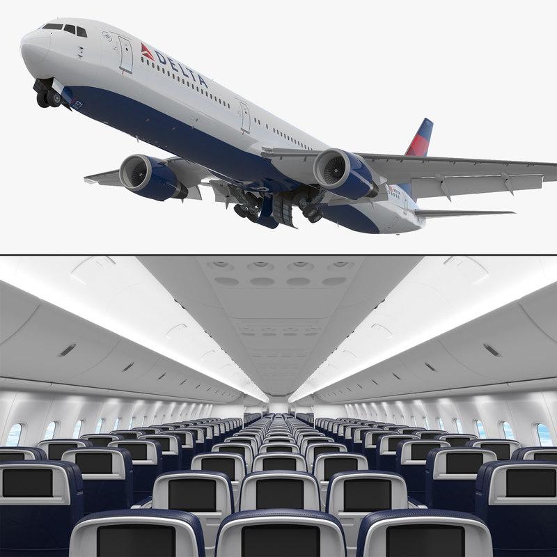 3D boeing 767-400 interior delta model