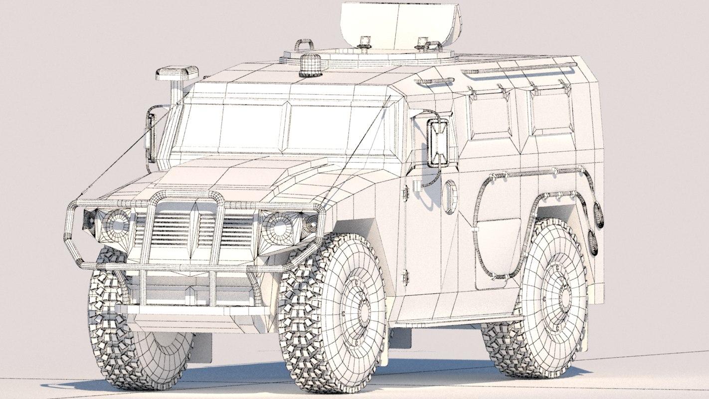 3D model russian military gaz tiger