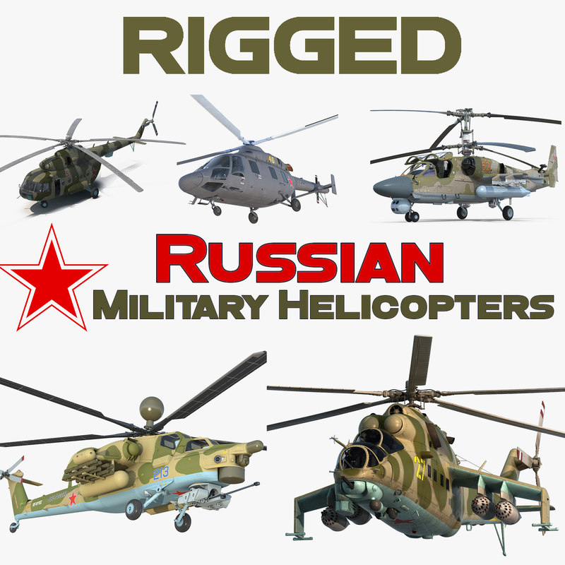 rigged russian military helicopters 3D model
