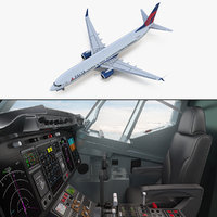 3D boeing 737-900 interior cockpit model