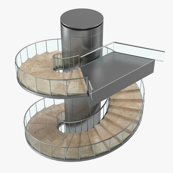 modern stairs 3D