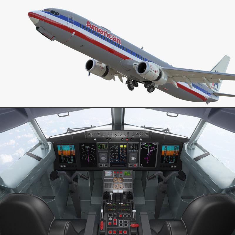 3D boeing 737-900 interior cockpit model