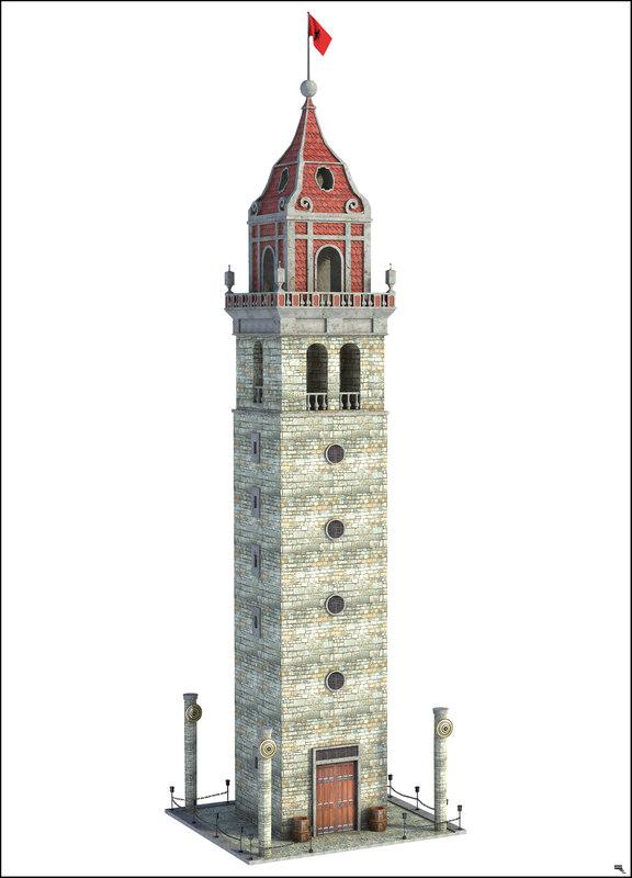 3D model fantasy tower surveillance
