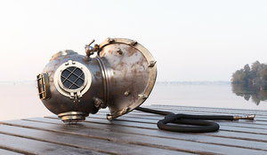diving helmet antique 3D model
