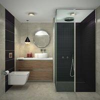 luxurious modern bathroom interior 3D model