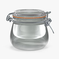 3D glass jar lock 05 model