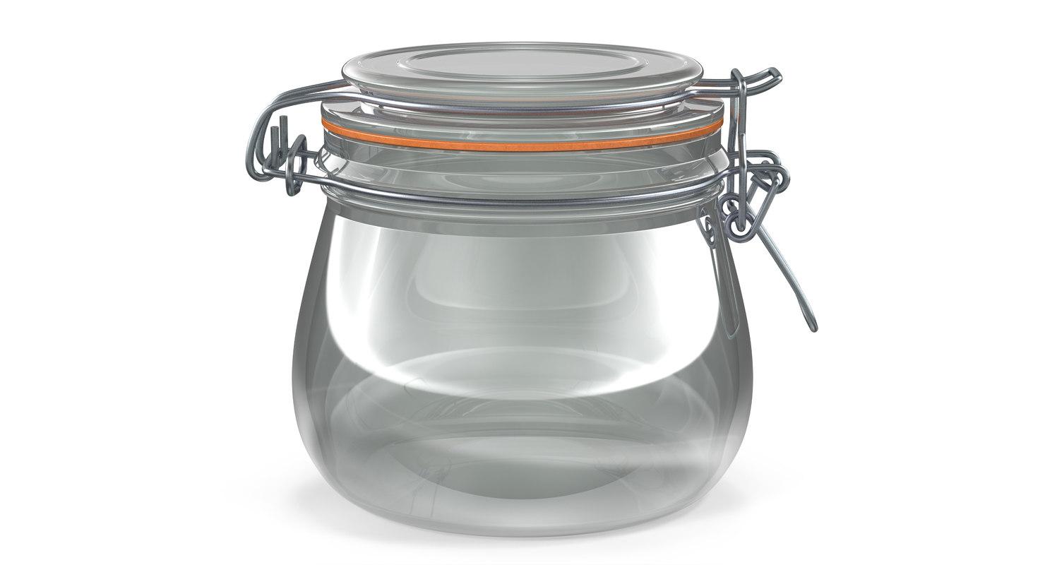 3D glass jar lock 05 model