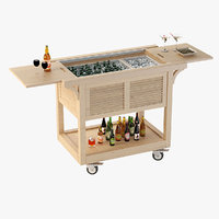 Photorealistic Outdoor Wooden Ready Beverage Cart