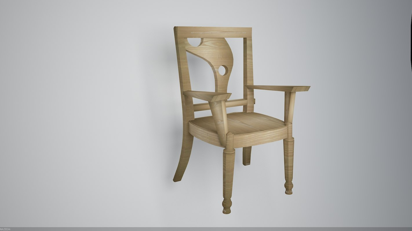3D modern wooden chair