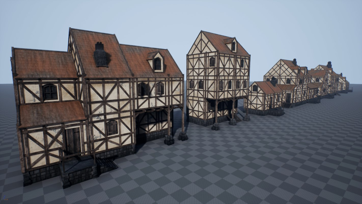 3D pbr medieval houses model