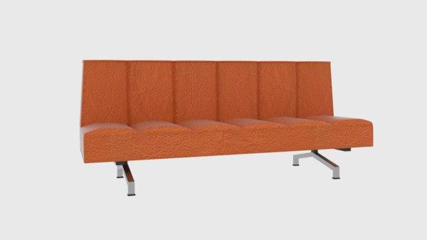 flex orange sleeper sofa 3D model
