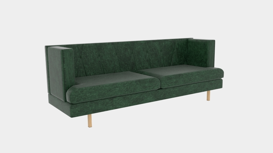 Avec Emerald Green Velvet Sofa Mit Messingbein