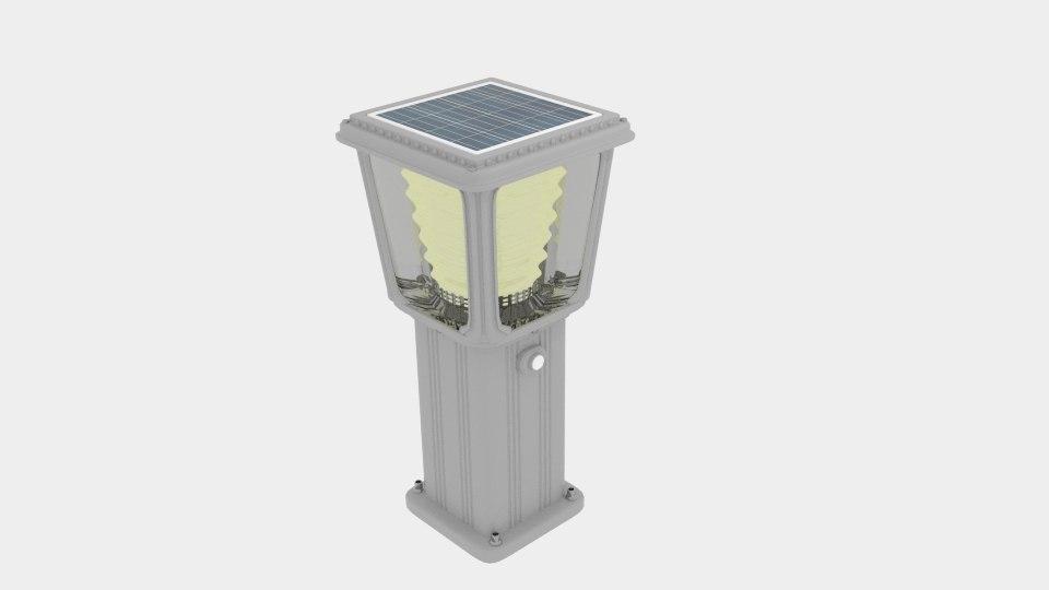 solar bollard garden light 3D model