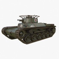 Tank Type 97 Chi Ha Green Japan Vray