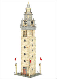fantasy tower clock 3D