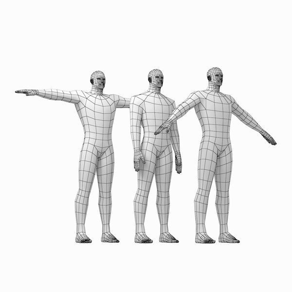 3D model mesh hero male body