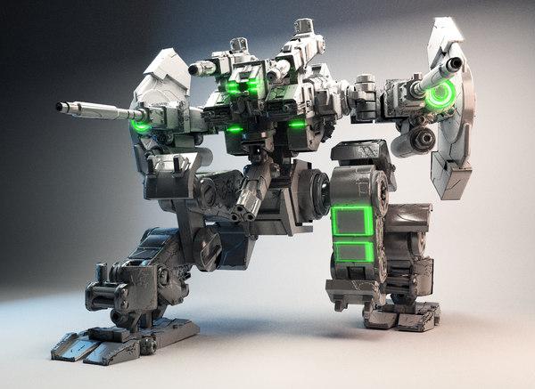 3D model robot gun armor