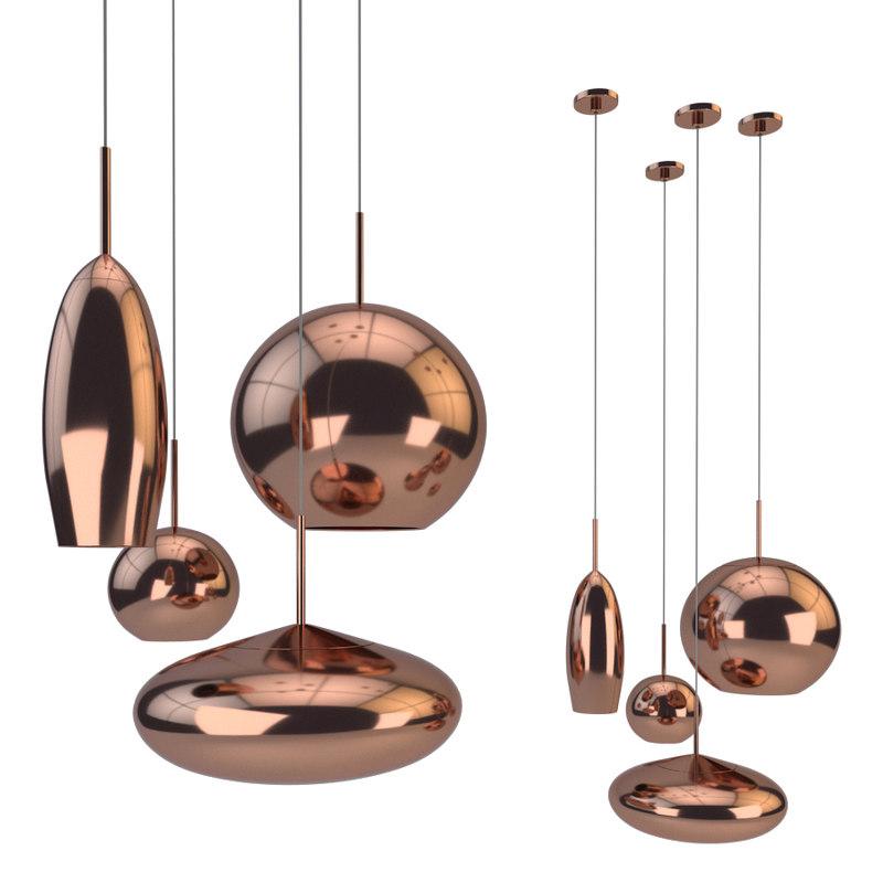 3D model copper tall pendant lamps
