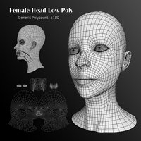 Human Female Head Low Poly Base Mesh