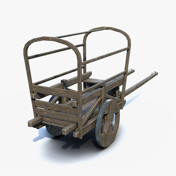3D low-poly medieval cart model