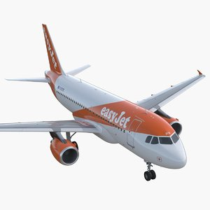 3D airbus a319 easyjet airline model