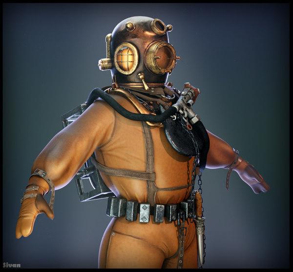 vintage diver suit 3D model