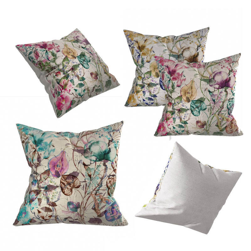3D model floral pillow set