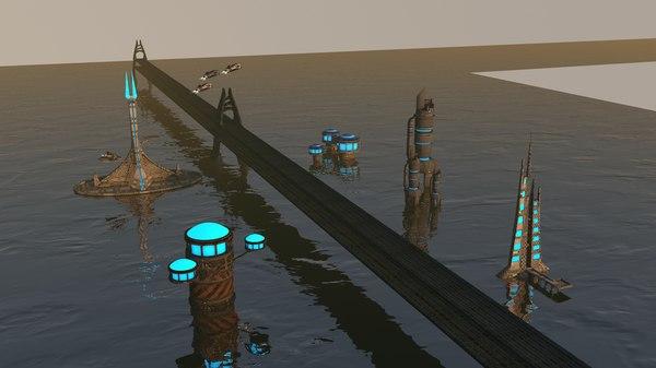 3D model sici-fi city package 2
