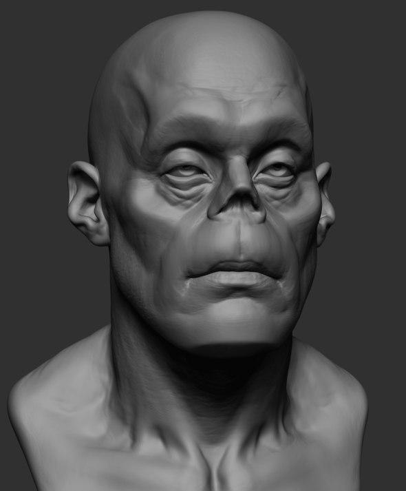 3D zombie head zbrush