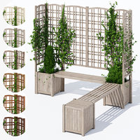 3D eucalyptus trellis bench model