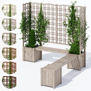 3D eucalyptus trellis bench model