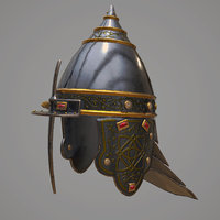 3D model medieval helmet modeled