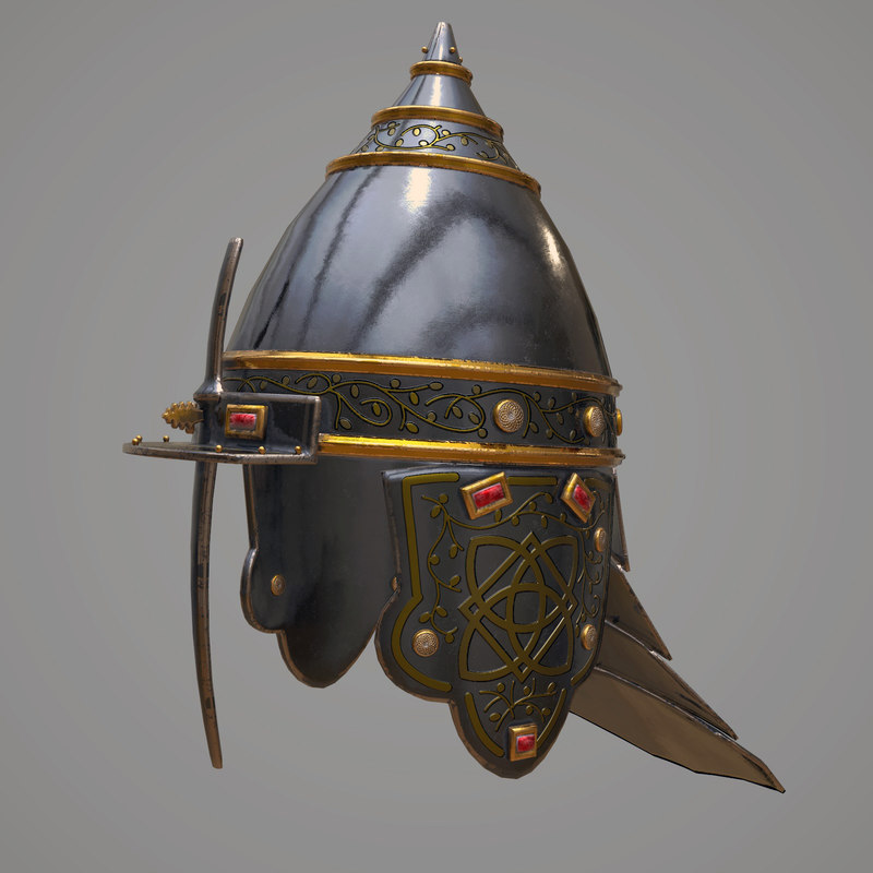 3D model medieval helmet modeled
