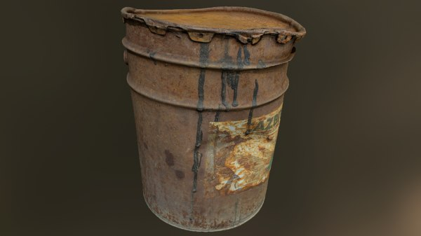 3D model old rusty oil barrel