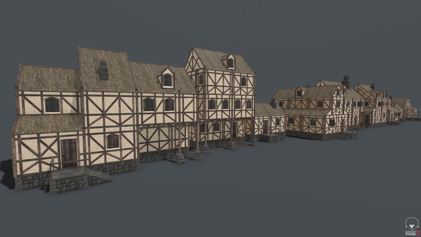 pbr medieval houses pack 3D model