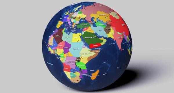3D geopolitical earth globe 16k model