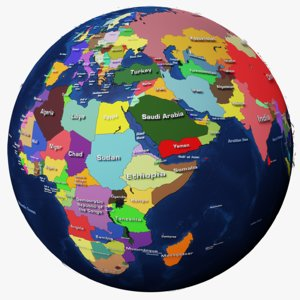 3D geopolitical earth globe 16k model