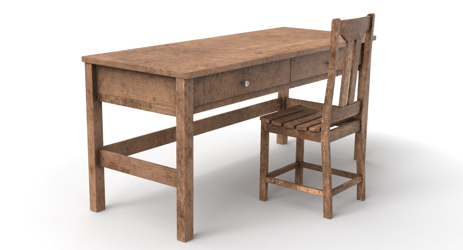 old table chair 3D model