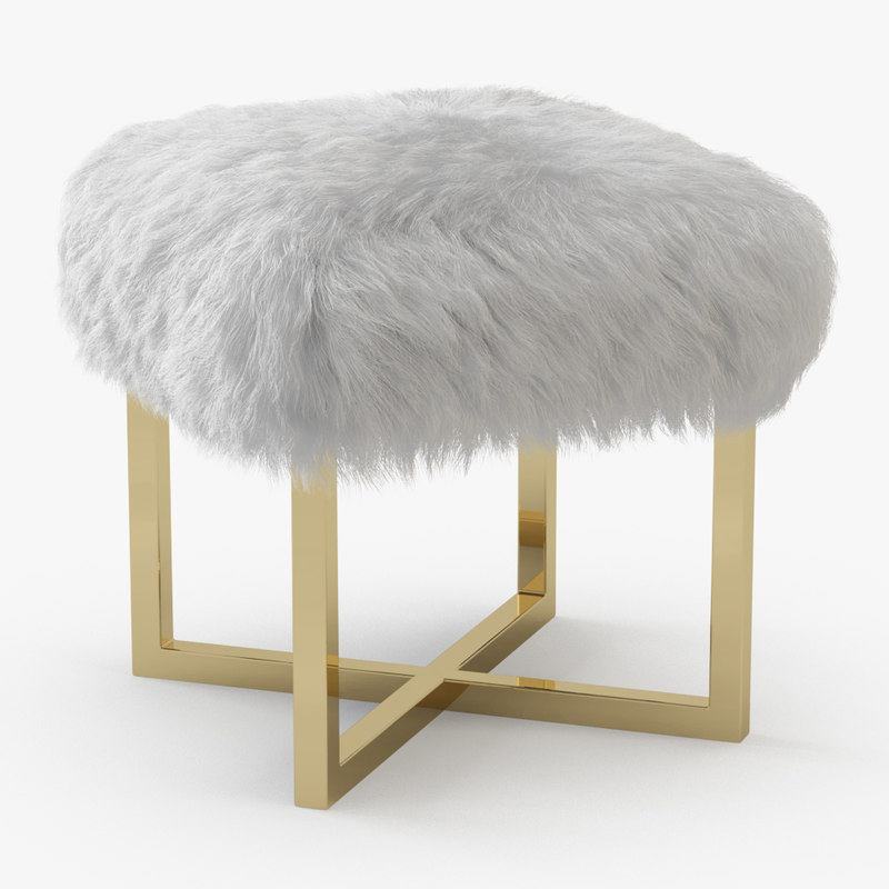 3D model wool nomo sheepskin bench
