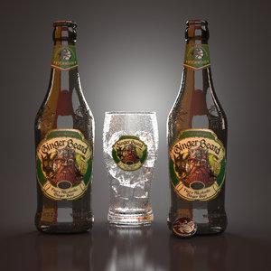 ginger beard beer bottles 3D