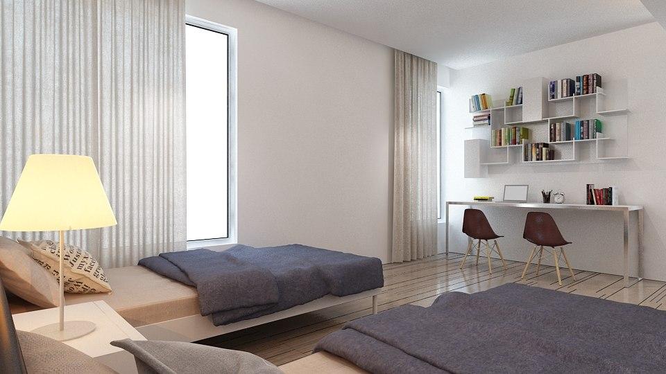interior bedroom scene 3D model