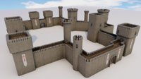 3D castle walls modular pack model