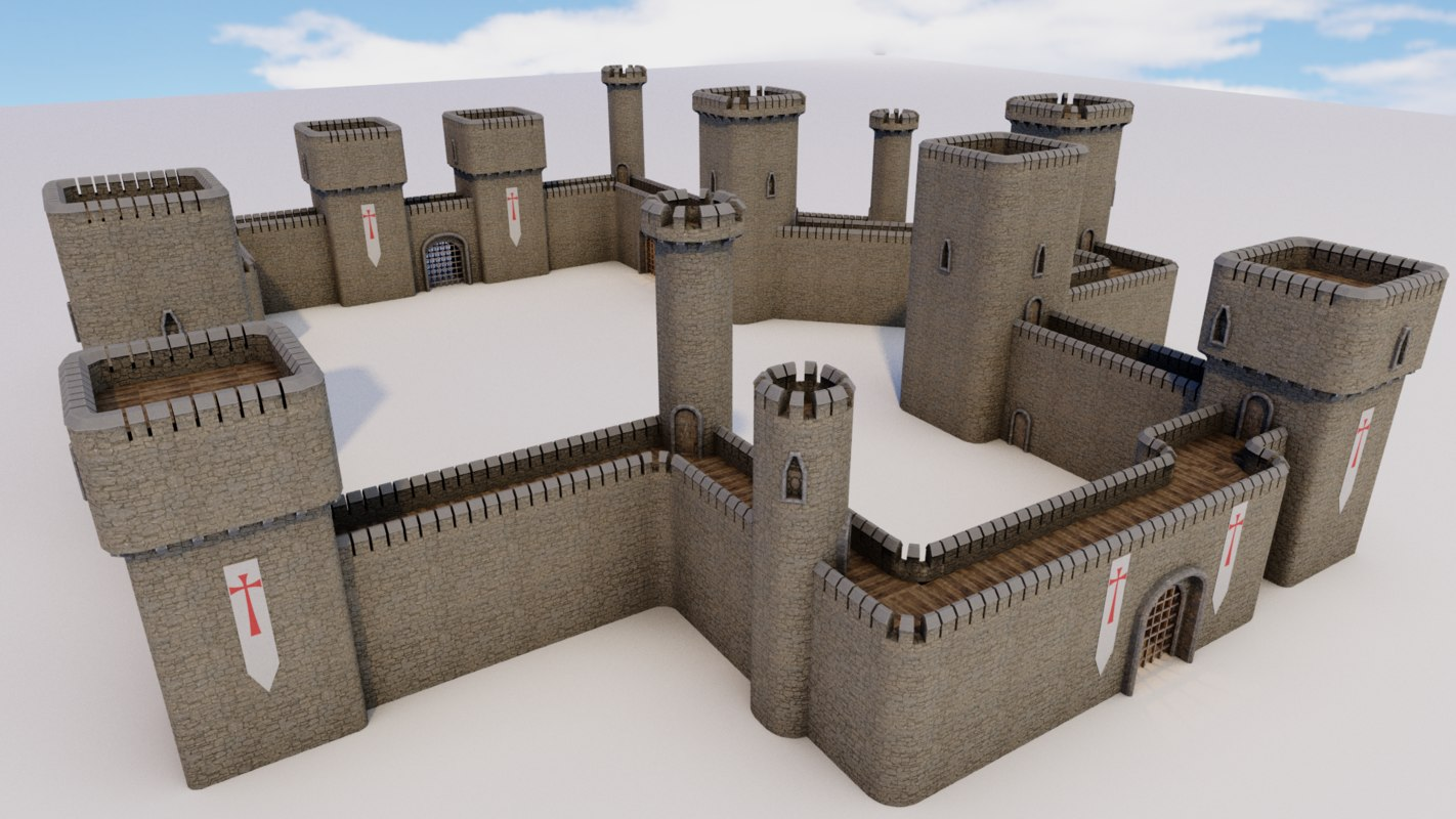 3D castle walls modular pack model