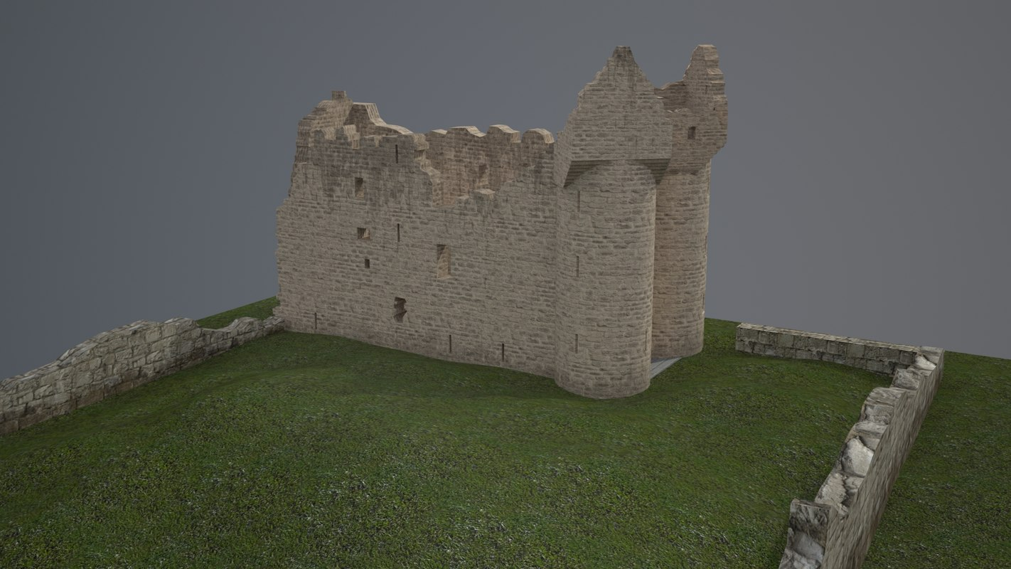 3D realistic monea castle architecture model